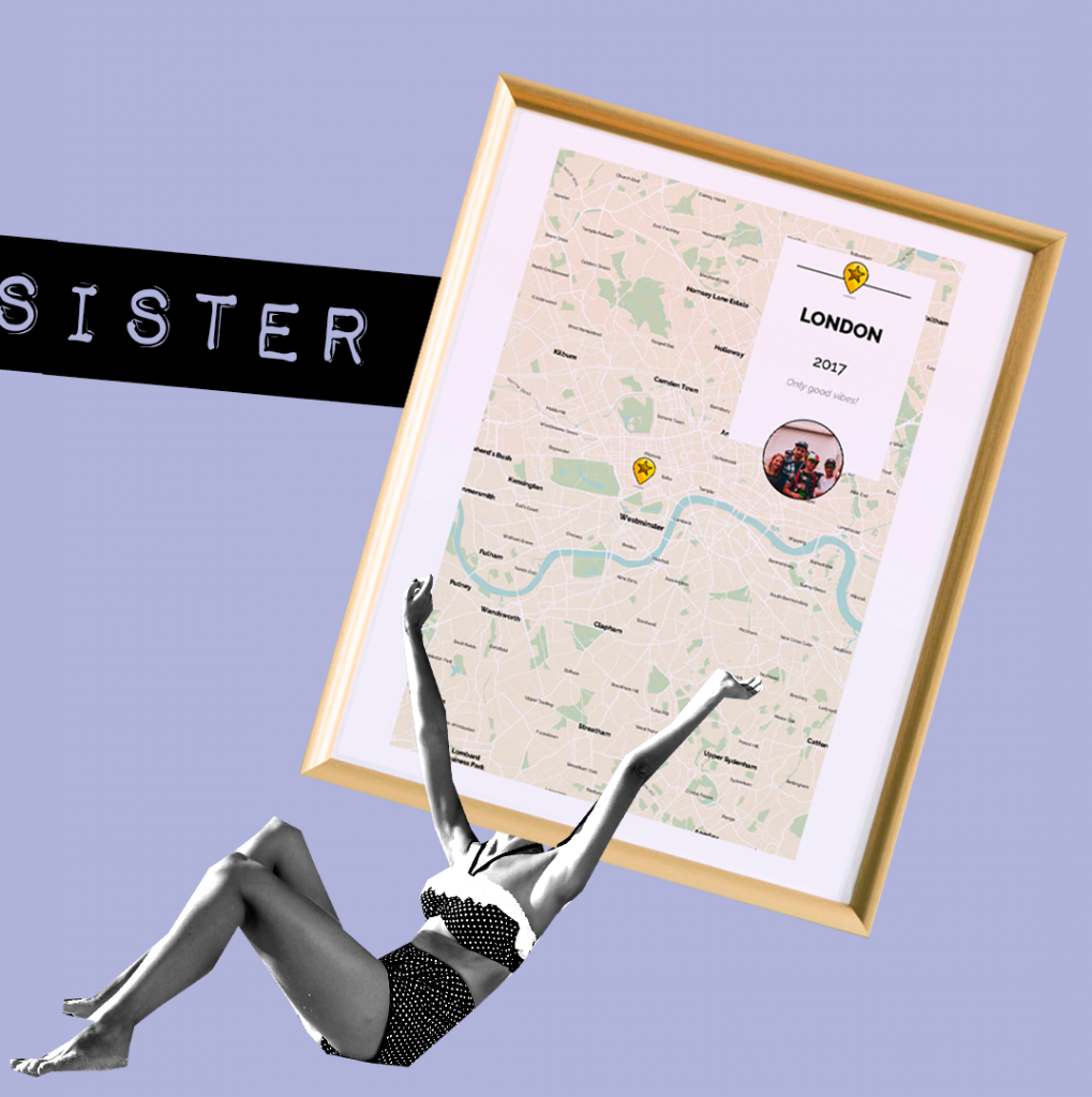 sister map gifts for her personalised