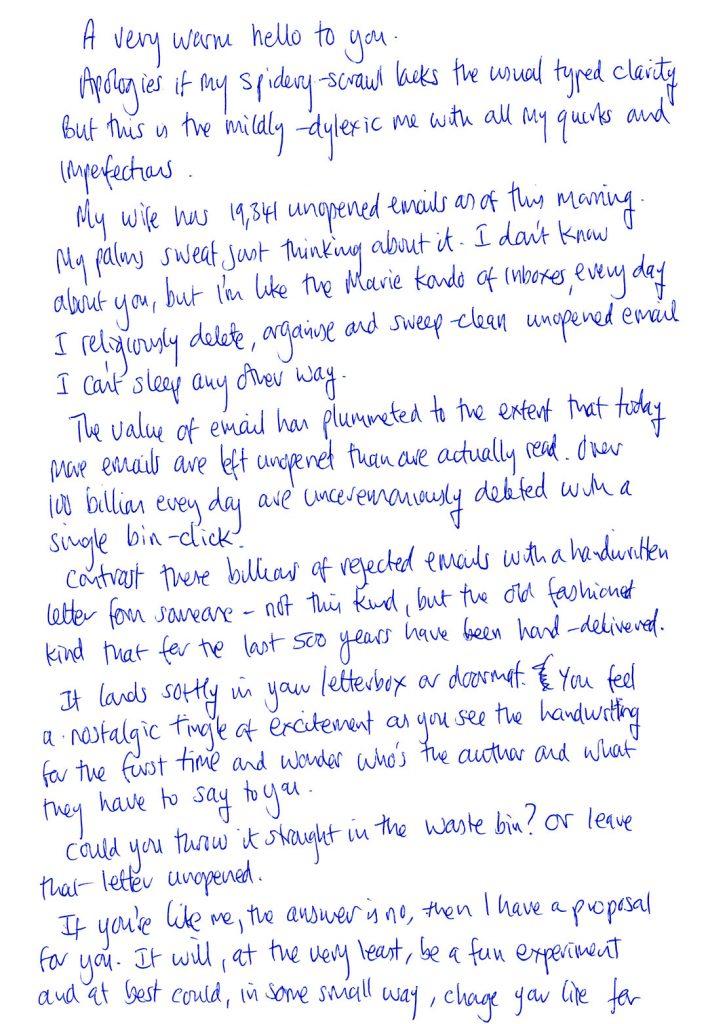 letter handwritten penpal