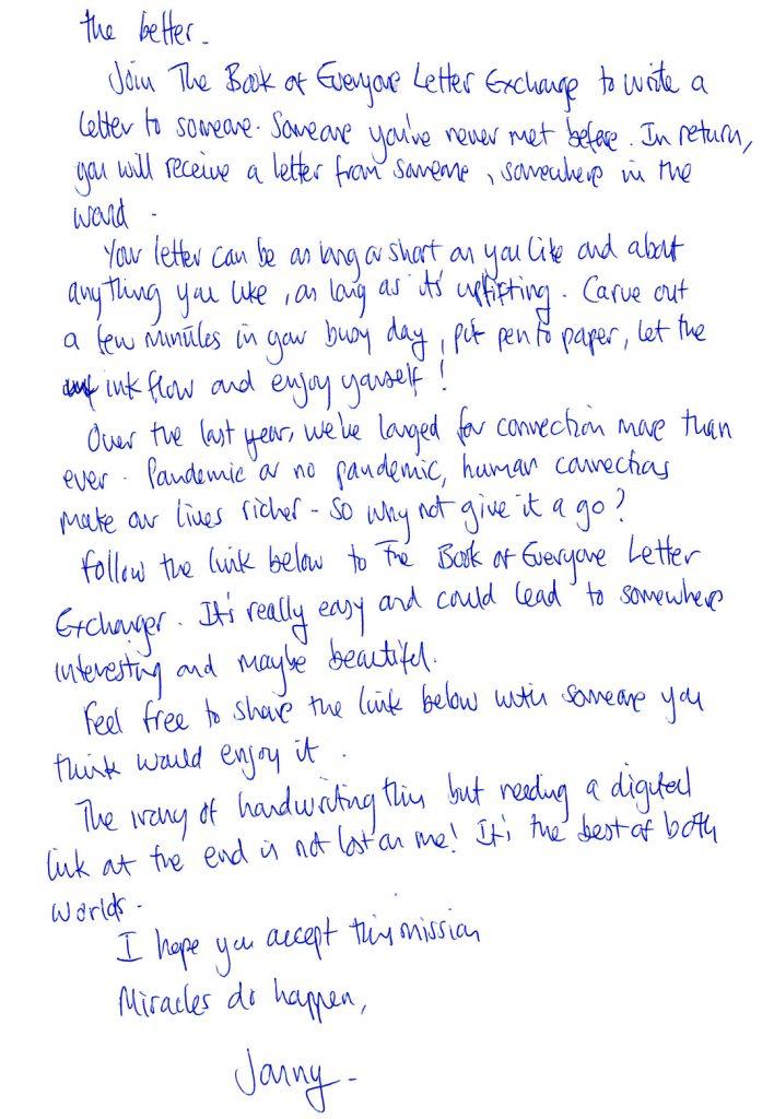 letter exchange handwritten penpal