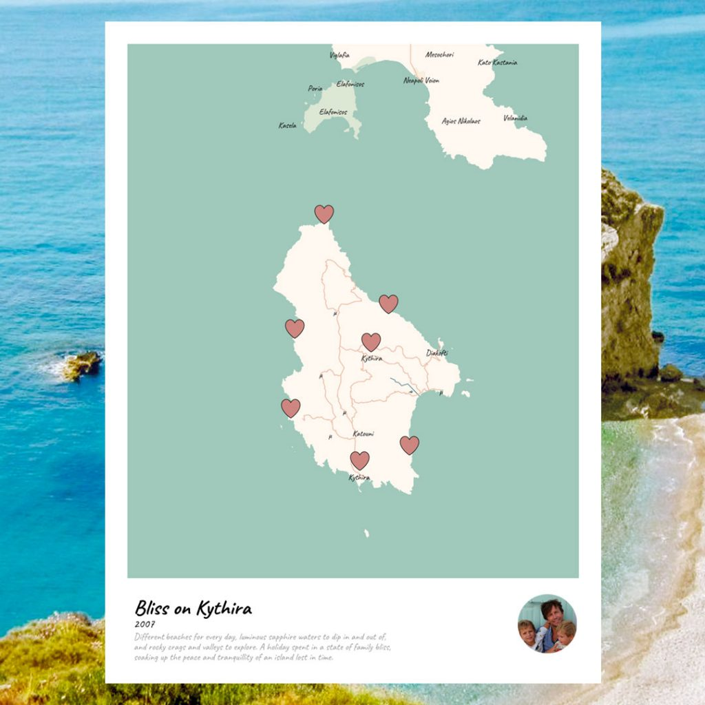 family travel personalised maps bliss on kythira greece