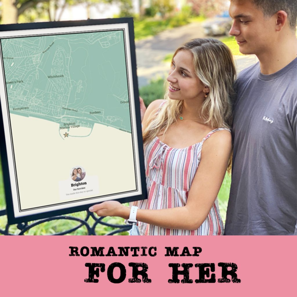 personalised gifts romantic map for her